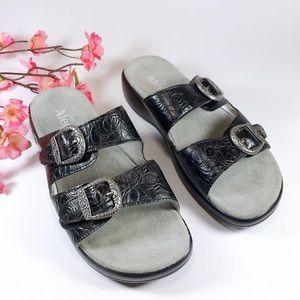 Alegria Jade Cowgirl Tar Black Leather Sandal 39